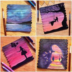 Popsicle stick canvases for acrylic paintings