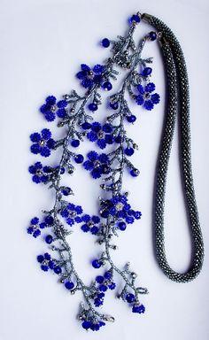 Flower Fringe Necklace - Nate Napotnik embellish rope chain with flower fringe