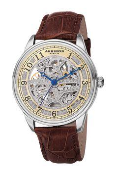 Akribos XXIV Men's Mechanical Genuine Leather Strap Watch save -83% today - http://bit.ly/pin1spycob2 track fashion deals