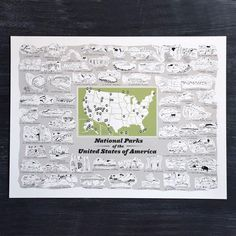 This screenprint is an illustrated collection of all the current US National Parks. They are drawn in alphabetical order with...