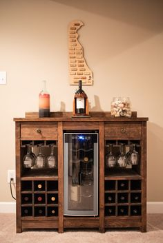 This wine cooler cabinet is for the wine lovers that want a piece of furniture to house not only their wine and wine glasses but a wine fridge as well. - Wine Cooler - Ideas of Wine Cooler Wine Glass Shelf, Wine Shelves, Wine Storage, Glass Shelves, Bar A Vin, Wine Display, Wine And Liquor, Wine Cabinets, Wine Fridge