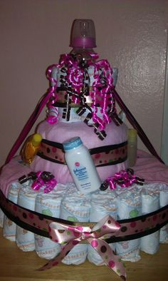 Pink and brown diaper cake