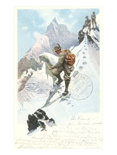 Art Print: Mountain Climbing in the Alps Poster : Vintage Ski Posters, Retro Poster, Chamonix Mont Blanc, Mountain Pictures, Mountain Climbing, Alpine Climbing, Sports Art, Sports Posters, Mountaineering