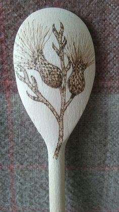 Wooden Thistle Decorated Spoon. Hand decorated with pyrography. Ideal gift. in Crafts, Hand-Crafted Items | eBay!