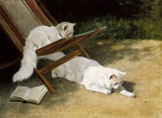 Chats persans au soleil (Two White Persian Cats with a Ladybird by a Deckchair), by Arthur Heyer (German, 1872-1931), 1911