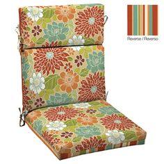 garden treasures floral multi red standard patio chair cushion lowes 1995 black patio chair cushions