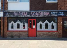 """""""Hair 'Em Scare 'Em"""" Barber Shop.. would you risk a haircut here?"""