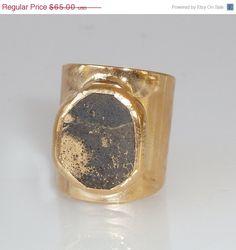 HOLYDAYS SALE Pyrite Ring, Gemstones Ring, Cocktail Ring, 24K Gold Adjustable Wide Band Ring  Gold fashion ring, Statement Pyrite Ring.   $55