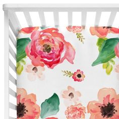 This watercolor floral crib sheet is so pretty! Can't wait to see it on baby girl's crib.