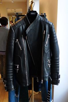 Black Leather Jacket with Zips