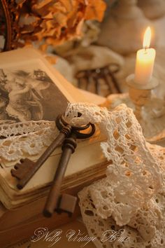 vintage keys, lace, illustrations and candlelight - lovely