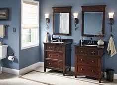 Master bath Nice idea to use two old dressers as vanities. But the top drawers can't be real - the sink is in the way! --- www.bathroom-pain...
