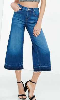 High Rise Released Hem Denim Culottes from EXPRESS