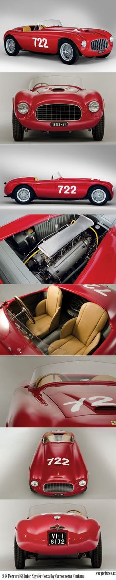 1948 Ferrari 166 Inter Spyder Corsa by Carrozzeria Fontana Race Car.  • 190 bhp, 2-litre overhead-camshaft V-12 engine  • The ninth Ferrari built, the sixth of the iconic 166 Spyder Corsas  • Elegant 1950 Barchetta body by Carrozzeria Fontana  • Extraordinary provenance, including winner of the 1949 Italian Hill Climb Championship; twice run in the Mille Miglia and three documented entries in the Targa Florio.  Source: RM Auctions