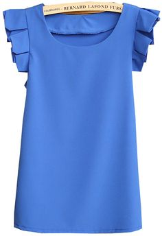 I'm digging these pleated sleeves. Blue Round Neck Pleated Short Sleeve Chiffon Blouse - Sheinside.com