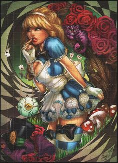 Alice in Wonderland Disney Dark Alice In Wonderland, Adventures In Wonderland, Fairytale Fantasies, Fairytale Art, Dark Disney, Disney Art, Alice Disney, Disney Pics, 3d Artwork