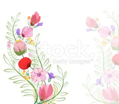 Color illustration of flowers in watercolor paintings royalty-free stock vector art
