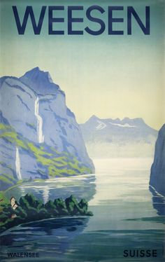 Vintage poster:      Weesen  by Monogramm F.E.