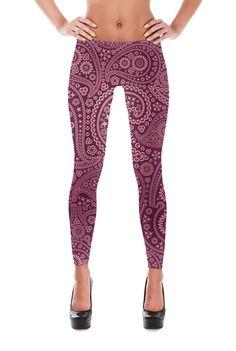 Paisley Leggings-Yoga Leggings-Patterned Leggings-Flower leggings