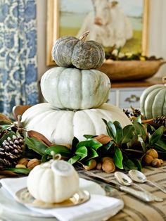 Beyond Pumpkins in 13 Rustic Thanksgiving Table-Setting Ideas from HGTV