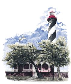 Augustine Lighthouse - Available as Signed and Numbered Limited Edition matted or unmatted lithographic print tent fold note cards and designer prints.  sc 1 st  Pinterest & Fire Island Lighthouse - Available as Signed and Numbered Limited ...