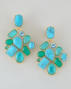 Kate Spade Crystal Cluster Bib Clip Earrings Turquoise in Green ...