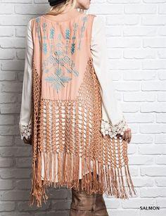 Eliza Bella for Kori Boho-Babe Peasant Crochet Fringed Cardigan Vest SM / ML