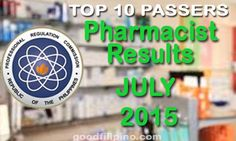 July 2015 Pharmacist PRC Board Exam Results - List of Passers (July Board Exam Result, Exam Results, Announcement, Boards, Top, Planks, Crop Shirt, Shirts