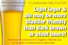 IC Awareness Month Daily Fact #25 - Is it safe to drink beer when you have IC? Not when your bladder symptoms are active and hurting. In a large ICN survey, lighter beers and pale ales were found to be more bladder friendly than darker beers and stouts. If you decide to try beer again, start with a small amount and chase it with a glass of water to dilute the effects. http://www.ic-network.com/ic-awareness-daily-fact-25-beer-interstitial-cystitis/
