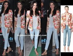 Deepika kept it casual in a tee, cropped skinnys and a Zara floral-print blazer while taking in a movie. Thong sandals, a style she seems to favor, finished out her look.