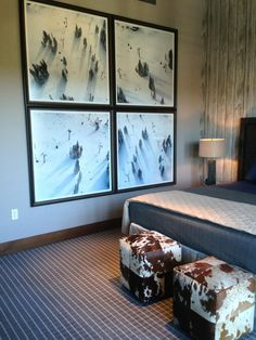 Ski Lift Quadtych by Gray Malin at the Lake Tahoe Ritz Carlton. Great photos for a winter home or ski lodge.