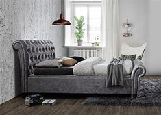 Birlea Castello Steel Crushed Velvet Side Ottoman Bed - available to buy online or at Choice Furniture Superstore UK on stockist sale price. Get volume - discount with fast and Free Delivery. Crushed Velvet Ottoman Bed, Velvet Bed, Superking Bed, Velvet Furniture, Sleigh Beds, Fabric Ottoman, Stylish Bedroom, Headboard And Footboard, Fortaleza