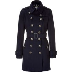 BURBERRY Vale Navy Double Breasted Tailored Coat (3.375 BRL) ❤ liked on Polyvore featuring outerwear, coats, jackets, burberry, casacos, double breasted coat, navy blue coat, trench coat, burberry coat and waist belt
