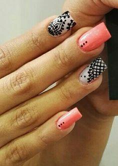Diseño en coral con negro ♡♡