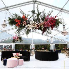 Loving the photos from our Lucinda + Chris' beautiful cocktail wedding ❤️ Wedding Ceremony Backdrop, Marquee Wedding, Loft Wedding, Dream Wedding, Burgundy Wedding, Floral Wedding, Flower Installation, Ceiling Installation, Cocktail Wedding Reception