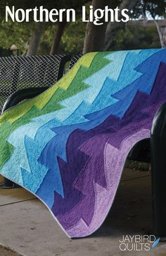 New 'Northern Lights' pattern from Jaybird Quilts. Cover quilt is all Kona!