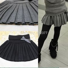 Free shipping new 2014 Autumn  winter child clothing girl's bust skirt thin woolen pleated skirt black/gray 4T~12 wholesale US $9.99 - 13.99