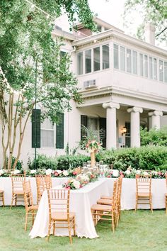 Pink and gold outdoor wedding decor | Christopher and Nancy http://southernweddings.com/2016/07/11/arkansas-wedding-weddings-christopher-nancy/
