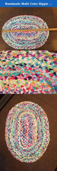 Handmade Multi Color Hippie Braided Rug (Gypsy, Hippie, Hippy, Boho, Beach, Shabby). This is a colorful rug that will look great in any room. Fabric is dyed, torn, braided and handsewn together by me. You will get the rug shown in the pic. Rug is aprx 27 inches long + 20 inches wide. -Shipping will be Priority Mail. -Check out my other handmade items for sale. ***This is a Shabby Rug. There will be strings. Strips are meant to be frayed. They add to the Gypsy/Hippie charm. Just cut or…