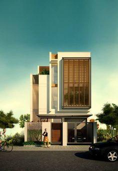 RESIDENT l 23o5studio on Behance Villa Design, Facade Design, Exterior Design, Modern Exterior, House Design, Concept Architecture, Facade Architecture, Beautiful Architecture, Residential Architecture