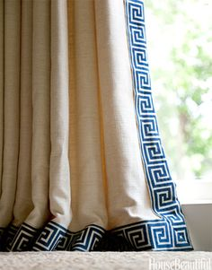 Greek Key border, Clarence House. Window Treatment Ideas - Designer Window Treatments - House Beautiful