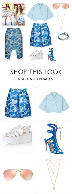 """""""Trending Origami Skirts"""" by freida-adams ❤ liked on Polyvore featuring Christopher Kane, TIBI, gx by Gwen Stefani, Glamorous, Christian Louboutin, Ray-Ban, Forever 21, Lizzy James, women's clothing and women"""