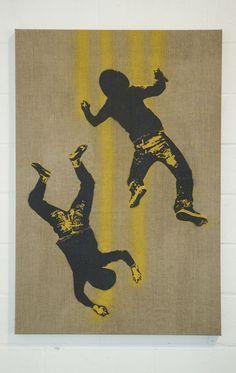 Falling graffiti writers 3 , 85 X 125cm. Spray paint on canvas, 2009. ©Victor Ash