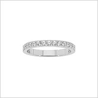 Always in style Half eternity ring featuring 15 pave set round brilliant cut cubic zirconia gemstones, stainless steel