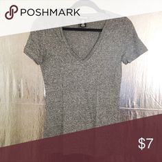 Gray V Neck T-Shirt Gray V Neck T-Shirt Wet Seal Tops Tees - Short Sleeve