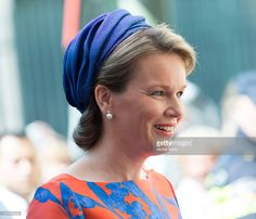 THEN 2015 & NOW 2016: Queen Mathilde opens the sculpture exhibition Vormidable on May 20, 2015 in The Hague, Netherlands.