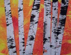 Create Art With Me! Birch trees using combs to apply paint on trees and sponge-painted background.