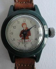 1955 Davy Crockett Wrist Watch by Walt Disney Prod. Original Leather band.