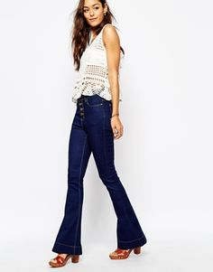 Enlarge Liquor & Poker High Rise Skinny Flares With Open Button Detail