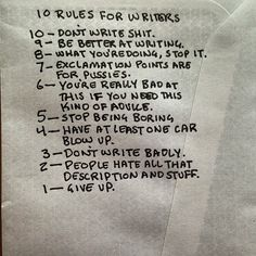10 rules for writers